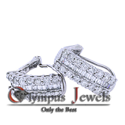 1.41CT 18K WHITE GOLD CUSTOM DIAMOND DESIGNER EARRINGS!